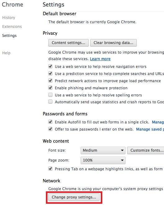 Google Chrome on MAC Configuration
